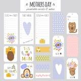 Satz Mutter-Tageskarten und -anmerkungen Stockfotos