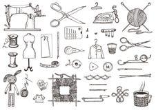 Satz nähende Werkzeuge und Materialien oder Werkzeuge für das Stricken oder Häkelarbeit für Näharbeit Handgemachte Ausrüstung Sch vektor abbildung