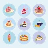 Satz Nachtischbonbons, Gebäck, Schokolade, Kuchen, kleiner Kuchen, Eiscreme, Vektorillustration Stockfoto