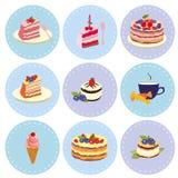 Satz Nachtische Bonbons, Gebäck, Schokolade, Kuchen, kleiner Kuchen, Eiscreme Stockbild