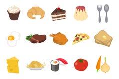 Satz Nahrungsmittelikonen Stockfotos