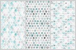 Satz nahtlose Aquarellmuster Einfache geometrische Formen Stockbilder