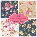 Satz nahtlose Blumen-Hintergründe Lizenzfreie Stockfotografie