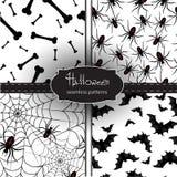 Satz nahtlose Halloween-Hintergründe Stockbilder