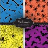 Satz nahtlose Halloween-Hintergründe Lizenzfreie Stockfotos