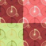 Satz nahtlose Hintergrundmuster 005 des abstrakten Weinlesefahrrades Stockbilder