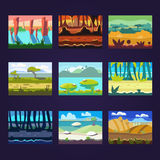 Satz nahtlose Karikatur-Landschaften für Spiel-Design Stockfoto