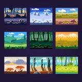 Satz nahtlose Karikatur-Landschaften für Spiel-Design Stockfotos