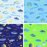 Satz nahtlose Muster auf dem Thema des Wetters mit Regen, Sonne Stockfotografie