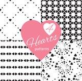 Satz nahtlose Muster Black&White mit Herzen stock abbildung