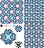 Satz nahtlose Muster - Blumenverzierungen und EL Lizenzfreie Stockfotografie
