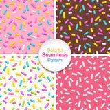 Satz nahtlose Muster der Donutglasur mit besprüht Stockfotografie