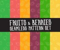 Satz nahtlose Muster der einfachen Früchte Lizenzfreie Stockbilder