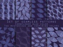 Satz nahtlose Muster in der indischen Art Kornblumenblau, Marineblau, mysteriös und anspornend Stock Abbildung