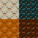 Satz nahtlose Muster des Kaffees Lizenzfreie Stockfotografie