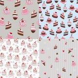 Satz nahtlose Muster des Kuchens Stockfotografie