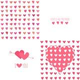 Satz nahtlose Muster des Valentinstags mit Lizenzfreie Stockfotos
