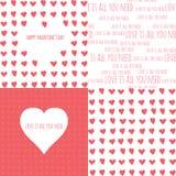 Satz nahtlose Muster des Valentinstags mit Stockfoto