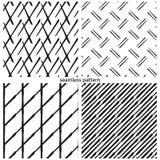 Satz nahtlose Muster - die Zusammenfassung verzerrte Linien, Gitter, Stockfotos