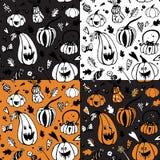 Satz nahtlose Muster Halloweens mit verschiedenen Kürbisen stock abbildung