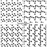 Satz nahtlose Muster - Kreiserbsen von verschiedenen Größen Stockbild