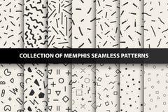 Satz nahtlose Muster Memphis Mode 80-90s Sie können nahtlose Hintergründe in der Musterplatte finden Lizenzfreies Stockbild