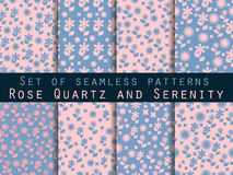 Satz nahtlose Muster mit Blumen Rosenquarz und Ruhe Vektor Abbildung