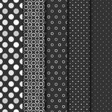 Satz nahtlose Muster mit cirlces und Punkten Lizenzfreies Stockfoto