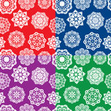 Satz nahtlose Muster mit dekorativen Papierschneeflocken Lizenzfreie Stockfotos