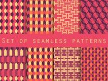 Satz nahtlose Muster mit geometrischen Formen Das Muster für Tapete, Fliesen, Gewebe und Designe Lizenzfreies Stockfoto