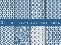 Satz nahtlose Muster mit geometrischen Formen Das Muster für Tapete, Fliesen, Gewebe und Designe lizenzfreie abbildung