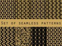 Satz nahtlose Muster mit geometrischen Formen Das Muster für Tapete, Fliesen, Gewebe und Designe Lizenzfreie Stockfotos