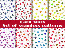Satz nahtlose Muster mit Klagen von Spielkarten Stockfoto