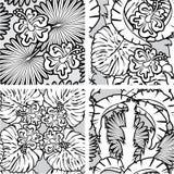 Satz nahtlose Muster mit Palmen verlässt lizenzfreie abbildung