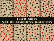 Satz nahtlose Muster mit Spielkarteklagen Ziffernkarten Stockbilder