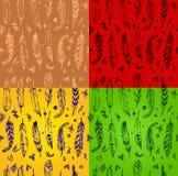 Satz nahtlose Muster mit stilvollen Federn vector illustrati Lizenzfreie Stockfotografie