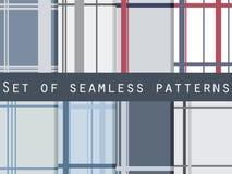 Satz nahtlose Muster mit Streifen Retro- Muster Lizenzfreie Abbildung