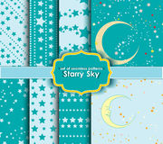 Satz nahtlose Muster - sternenklarer Himmel Stockfotografie