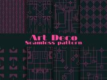 Satz nahtlose Muster von Art Deco Linien und geometrische Zahlen auf dem Hintergrund Reden Sie ` 1920 s, ` 1930 s an Vektor Stockbild