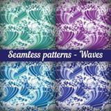 Satz nahtlose Muster - Wellen Auszug Stockfotografie