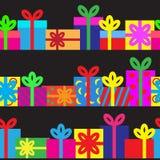 Satz nahtlose Reihe Geschenkboxen Stockfoto