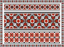 Satz nahtlose ukrainische traditionelle Muster Stockfotos