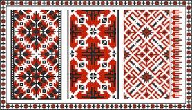 Satz nahtlose ukrainische traditionelle Muster Lizenzfreie Stockbilder