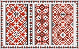 Satz nahtlose ukrainische traditionelle Muster Lizenzfreies Stockbild