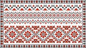 Satz nahtlose ukrainische traditionelle Muster Lizenzfreies Stockfoto