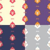 Satz nahtlose Vektormuster des flachen des Designs Affen des neuen Jahres Lizenzfreie Stockfotos