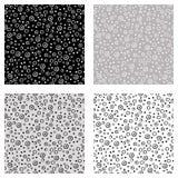 Satz nahtlose Vektormuster mit Punkten Schwarze, weiße, graue Hintergründe mit Hand gezeichneten dekorativen Elementen Dekorative Lizenzfreie Stockbilder