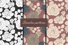 Satz nahtlosen Musters drei mit Rosen in den schönen Weinlesefarben für Ihr Design Es kann für Leistung der Planungsarbeit notwen Stockfotografie