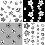 Satz nahtlosen Musters vier mit Schatten von grauen Blumen Stockfotografie