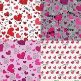 Satz nahtloses Muster oder Hintergrund der Liebe mit Herzen Stockbild